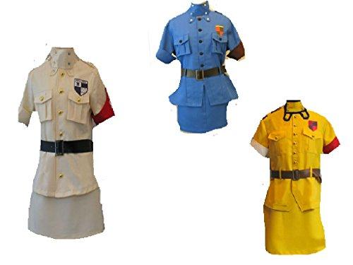 [Hell sing Hellsing Seras Victoria Blue yellow white ver cosplay costume 3 style] (Seras Cosplay Costume)