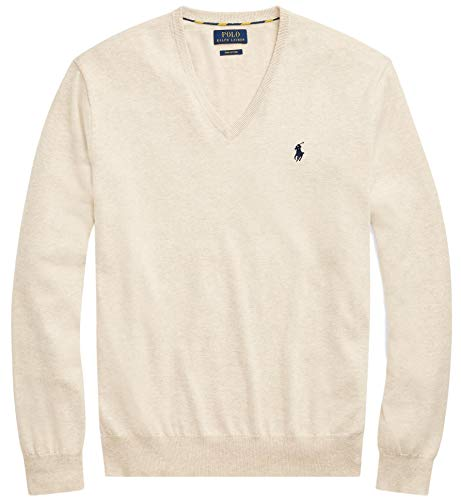 Polo Ralph Lauren Mens Pima Cotton V-Neck Sweater SandHtr, XXL