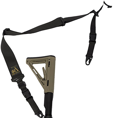 "S2Delta - USA Made 2 Point Rifle Sling, Quick Adjustment, Modular Attachment Connections, Comfortable 2"" Wide Shoulder Strap to 1"" Attachment Ends (Black with C.L.A.S.H. Hooks) (MRS2P-USA-BCH)"