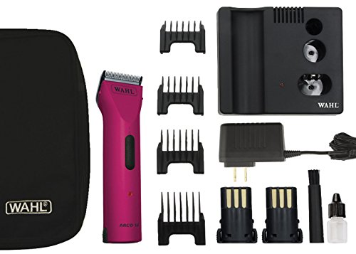 Pink Clipper Lightweight Clip - Wahl Professional Animal Powerful Motor ARCO Cordless Clipper Kit with bonus Blade Brush included (Hot Pink)