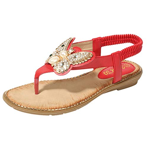 〓Londony〓 Ladies's Shoes Signature Sandal: Comfort Walking Ergonomic Flip Flops, Slides & Sandals for Women Red ()