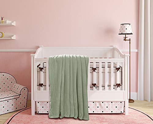 (GorgeousHome linen Baby Bedding Basic Needs Warm Cosy Soft Small Throw Blanket Solid Color to Use in Crib Stroler Moisses Toddler Bed ETC (SAGE Green))