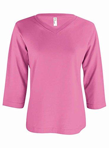 Ladies 3/4 Sleeve V-neck Tee - 9