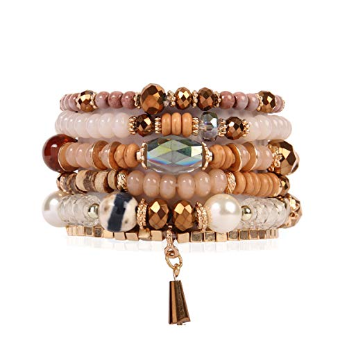RIAH FASHION Bead Multi Layer Versatile Statement Bracelets - Stackable Beaded Strand Stretch Bangles Sparkly Crystal, Tassel Charm (Crystal Bead Mix - Light Brown)
