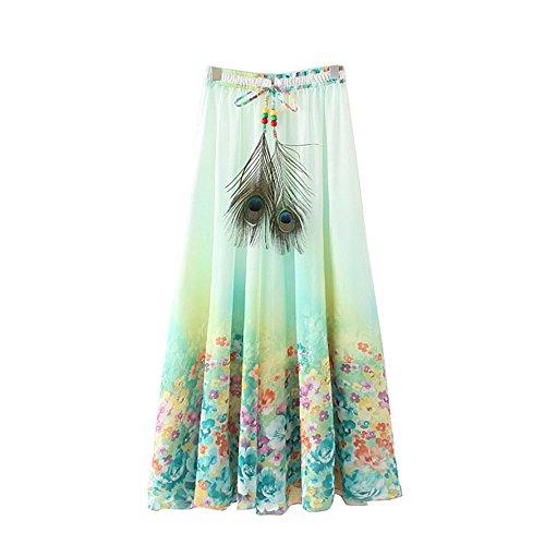 Long Jupe Vert de Femmes Plage bohmien Fleur t Longue Maxi fte Kaxuyiiy lastique Taille Skirt Fleur Lotus Jupe Maxi Minuscule Plisse UxZCAZ7wq