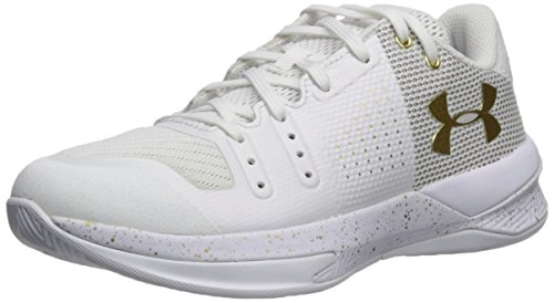 Under Armour Women's Block City Volleyball Shoe, White (100)/Metallic Gold, 8.5