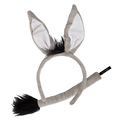 Animal Ears and Tail Set Grey Donkey Fancy Dress Accessory Plush Halloween -
