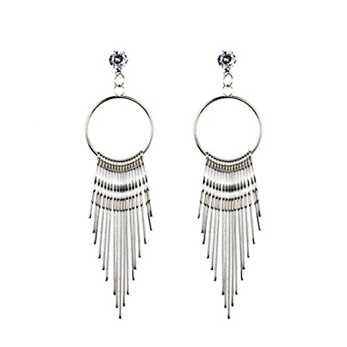 DDLBiz Women Fashion Bohemian Long Metal Tassel Crystal Dangle Earring Earrings Eardrop Hoops Jewelry Silver