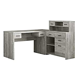 """Thaweesuk Shop Grey 60"""" Executive L Shaped Office Desk with Hutch Furniture Corner Computer Workstation Home Sturdy Wood Particle Board Hollow Core Laminate MDF 59"""" W x 62.75"""" D x 44.75"""" H"""