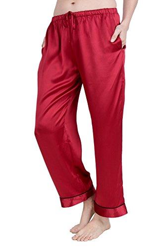(OSCAR ROSSA Women's Luxury Silk Sleepwear 100% Silk Pajamas Pants Burgundy)