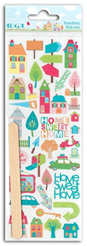 (Toga rop48's Home Sweet Home Novelty Rub-Ons Transfer Board Plastic Multi-Coloured 7.5x 23.5x 0.3cm)