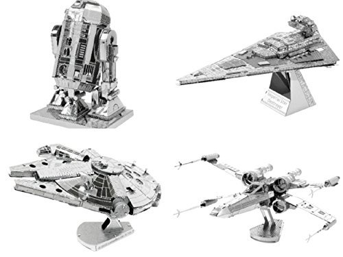 (Metal Earth 3D Model Kits - Star Wars Set of 4 - X-Wing, Millenium Falcon, Imperial Star Destroyer and R2-D2)