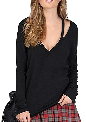 KDHJJOLY Comfortable Women's Fashion Deep V-neck Sexy Long-sleeved T-shirt Tops BlackUS Large Effective - Yoox Shopping