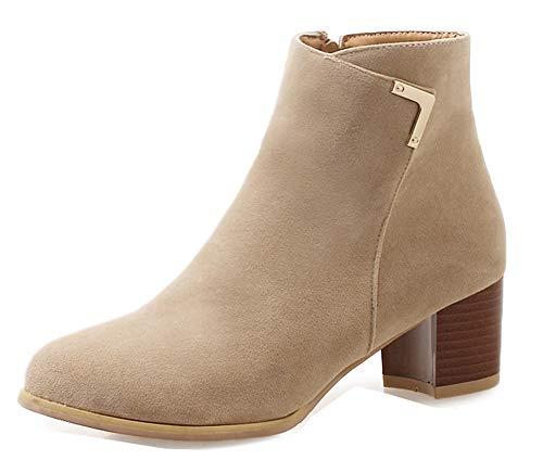 Classique Bottines Basse Aisun Boots Rond Low Abricot Femme Bout 0gq5zF