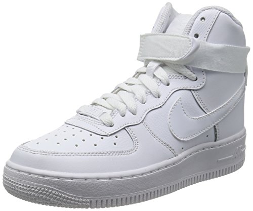 NIKE Kids Air Force 1 High (GS) Basketball Shoe (6 M US Big Kid, White) (Shoes Basketball One)