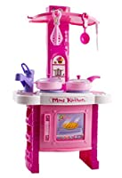 """Kids Kitchen Toy, Kitchen Playset Simulation Kitchen Cookware Pretend Role Play Toy 21"""" Tall with Music For Children Light(Pink)"""