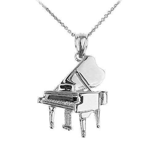 Collier Pendentif 10 ct Or Blanc Grand Piano Musique (Livré avec une 45cm Chaîne)