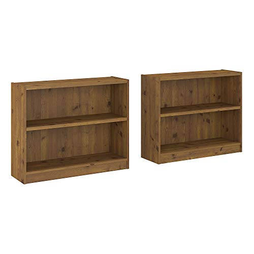Bush Furniture UB001VG Universal 2 Shelf Bookcase Set of 2, Vintage Golden Pine