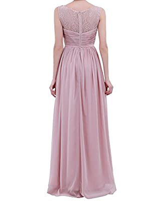 FEESHOW Women's Lace Patchwork Chiffon Bridesmaid Dress Formal Prom Long Evening Gowns
