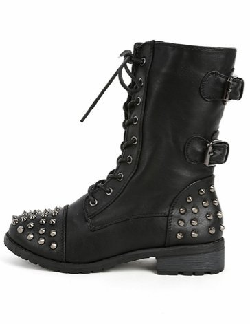 Women's Faux Leather Mid Calf Studded Buckle Boots in Black, Brown, Taupe, Stone - stylishcombatboots.com