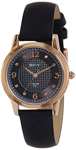 Women Gold Dial Leather Strap Watch Black - 5