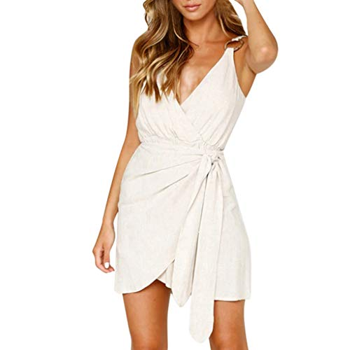 OTINICE Women V-Neck Sexy Short Pants Jumpsuit Sleeveless Tie Knot Summer Casual Rompers White ()