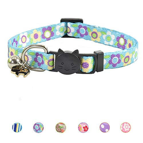 XPangle Breakaway Cat Collar with Bell, Cute Kitten Collar Safety Adjustable for Kitty Puppy Neck 7.8-11.8in (Blue)