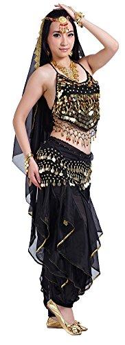 Black Two Piece Dance Costumes - AvaCostume Lady Indian Dance Performance Costume Bra Pants 2 Pieces Black