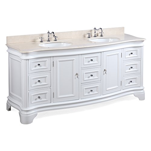 Katherine 72-inch Double Bathroom Vanity (Crema Marfil/White): Includes White Cabinet with Spanish Crema Marfil Beige Marble Countertop and White Ceramic Sinks