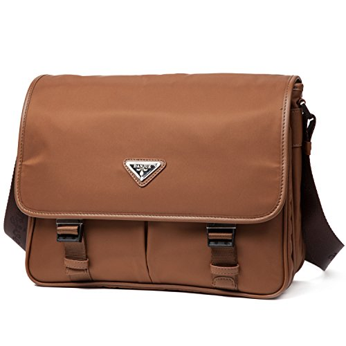 DANJUE Messenger Bag for Men Waterproof Brown Oxford Flap Men Crossbody Bags Shoulder Bags 8901-1Brown (Brown) by DANJUE