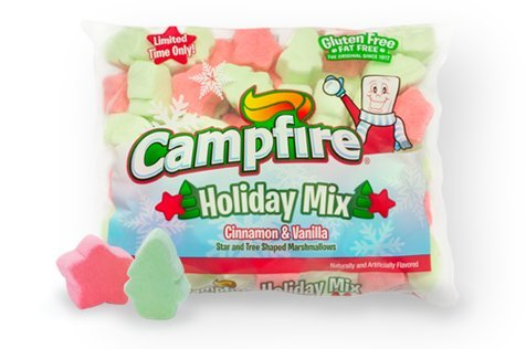 (LIMITED EDITION Campfire Holiday Mix Cinnamon & Vanilla Star & Tree Shaped Marshmallows, Two 8oz)