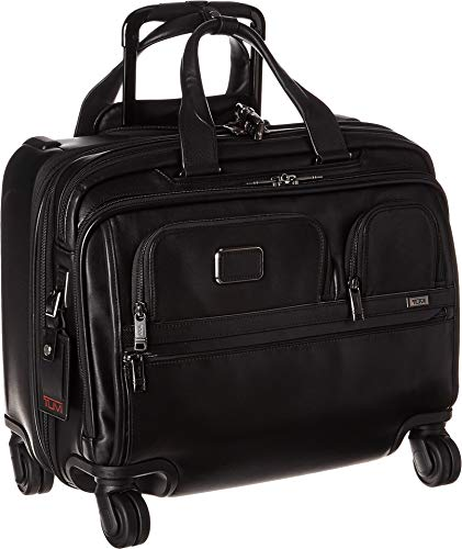 TUMI - Alpha 3 Deluxe 4 Wheeled Leather Laptop Case Brief - 17 Inch Computer Brief for Men and Women - Black ()