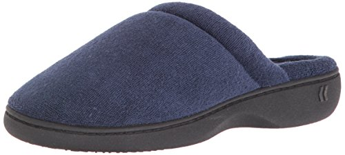 (Isotoner Women's Classic Terry Clog Slippers Slip on, Navy, Medium / 7.5-8 Regular US)