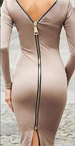 Womens Fasciatura Dalla Vestiti Sexy As1 Cerniera Ragazze Bodycon Lusso Di Coolred Posteriore ZvZwrqR