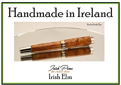 Shannon Fountain pen in Irish Elm, handmade in Ireland with Chrome and gold trim accents plus a German Iridium nib for a smooth writing experience by Irish Pens