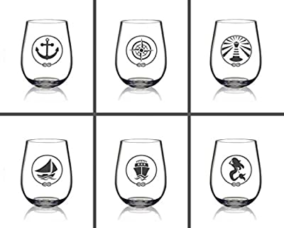 SET OF 6 -Stemless Wine Glasses-Nautical Themed, Unbreakable 14oz, Best Shatter Proof Drinking Glass for Wine, Cocktails or gifts