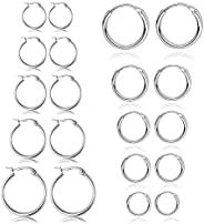 10 Pairs Stainless Steel Rounded Small Hoop Earrings Set Cute Huggie Earrings for Women Nickel Free,10MM-18MM