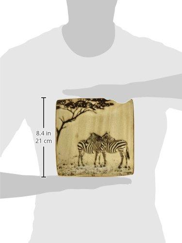 8 Tan and Black StealStreet SS-UG-TCD-433 Hugging Zebra Modern Square Salad Plate