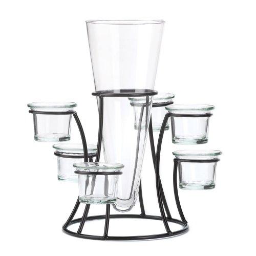 pered Glass Flower Vase Candle Holder Set ()