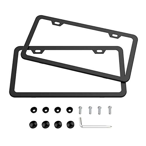 Karoad Black License Plate Frames, 2 PCS Stainless Steel Car Licence Plate Covers Slim Design with Bolts Washer Caps for US Standard