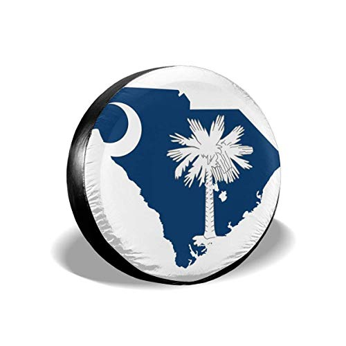 New Eletina Design Jeep South Carolina Flag Spare Tire Cover Waterproof Dust Proof for Jeep Trailer Rv SUV Truck Wheel