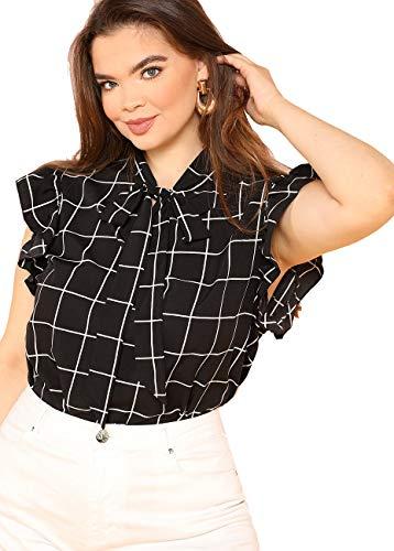 ba63109dcca Romwe Women s Plus Size Bow Tie Neck Short Sleeve Casual Wear to Work  Blouse Tops