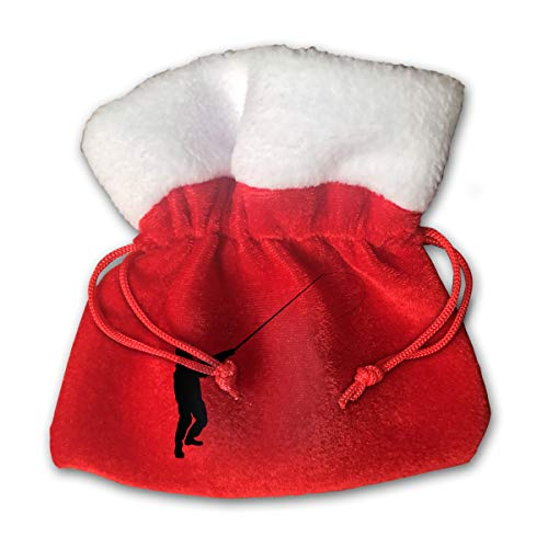 NRIEG One Person Fishing Christmas Candy Bags Santa Claus Gift Treat Sacks with Drawstring Xmas Stocking Ornaments Decor Handbag