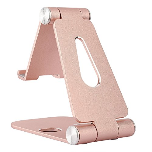 Multi-Angle Tablet Stand for iPAD And iPhone : Desktop Adjustable Cell Phone Table Video Game Stand Holder Dock for iPhone 7 6 Accessories, iPad and Tablets (4-10'') Universal Accessories Desk- Gold 7' Universal Tablet