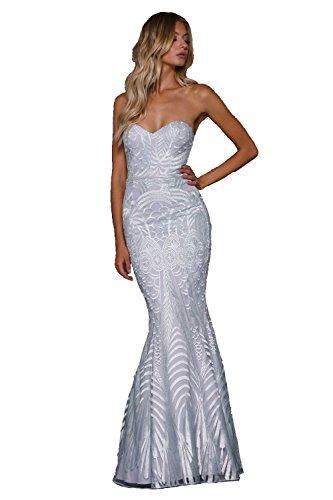 10 Priya Fishtail UK US Strapless Iced Elle Silbernes 6 Kleid Zeitoune 8AqxO