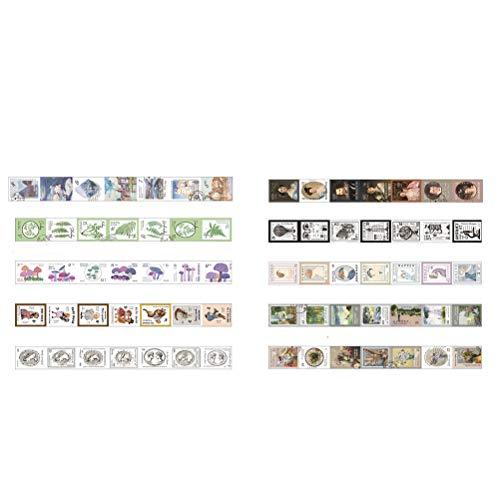 Vintage Post Mark Stamp Washi Tape Set- 4 Rolls Randomly- Decorative DIY Japanese Masking Scrapbook Notebook - Decorative Post