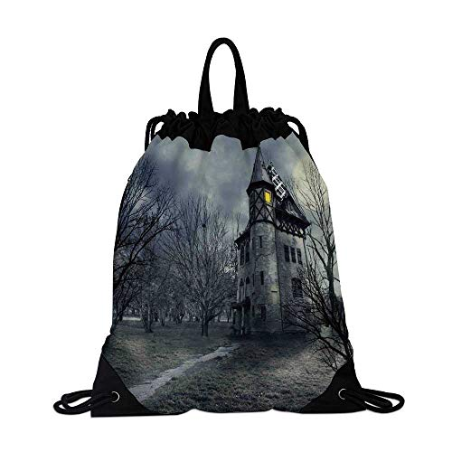 Halloween Canvas Drawstring Bag,Halloween Design with Gothic Haunted House Dark Sky and Leafless Trees Spooky Theme Decorative for Shopping Travel,One_Size -