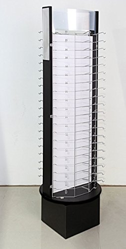 120 Pair Eyewear Counter Spinning Sunglass w/Sign Holder Rack Black Silver - Bentley Eyewear