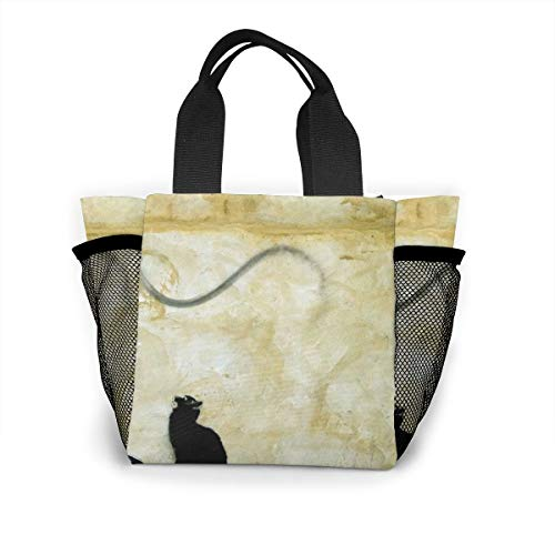 Insulated Lunch Bag For Women Cat Seesaw Flying Rats, Leakproof Tote Box For Picnic