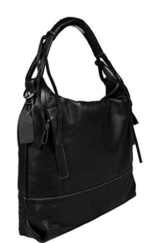 f9eed8040c608 ... Schöne praktische Leder Schwarze Handtasche aus Leder Gloria Nera über  die Schulter ...
